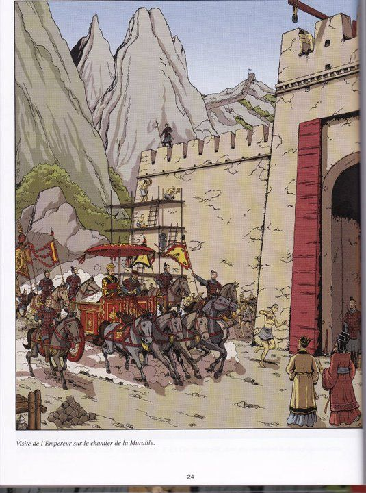 The First Emperor comes to inspect the Great Wall  From Les Voyages d'Alix, Alix en Chine, by Jacques Martin, illus. Erwin Drèze
