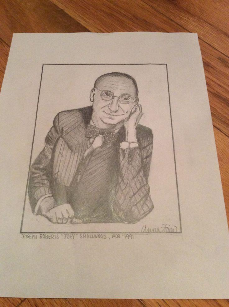 "Joseph Roberts ""Joey"" Smallwood sketch - using pencil By: Anna Fan"