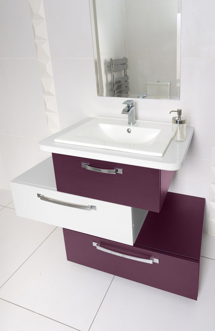 """A bespoke vanity unit painted in Colourtrend """"Grafton Port"""" and """"Oyster Bed"""""""