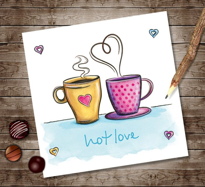 Valentines Day Digital Instant Download, Printable Love Card Gift, Retro Coffee Cups, Watercolor Illustration, Hot Love Invitation Print by NopiArtStudio on Etsy