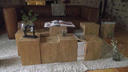 Ameublement décoration Bûche 30x30x45 cm chêne massif bout canapé chevet tabouret  : Meubles et rangements par chez-jas