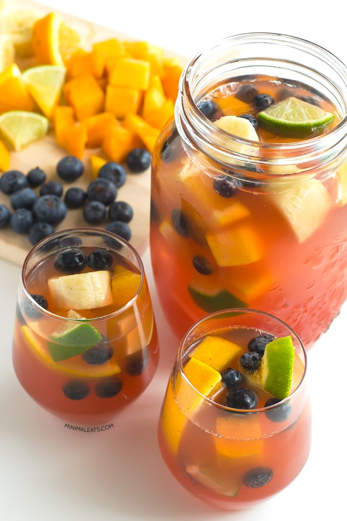 ~ Non alcoholic Spanish Sangria version, using white grape juice beautifully reddened by the blueberries; no added sugar necessary from the sweetness of the cut fruit pieces, mingled into a delicious & refreshing drink.