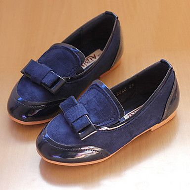 Girl'S Solid Color With Bow Loafers