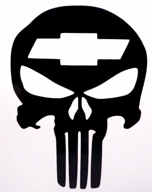 Punisher Skull Chevy Cool Car Truck Window Vinyl Decal Sticker Choose Color #VinylDecalSticker