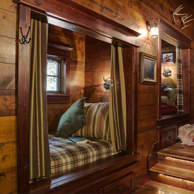 Log House nook! We used to have one in the old beach house, only it had pocket doors instead of curtains. Either way, I want one!