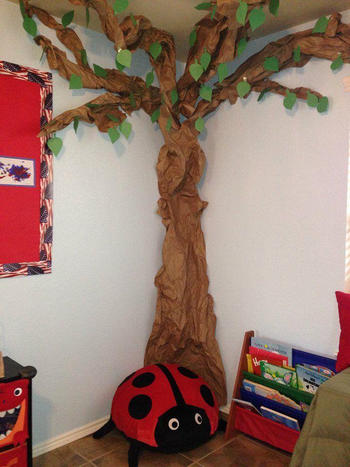 Classroom Tree Ideas ~ Used kraft paper to make a corner tree cut off big pieces