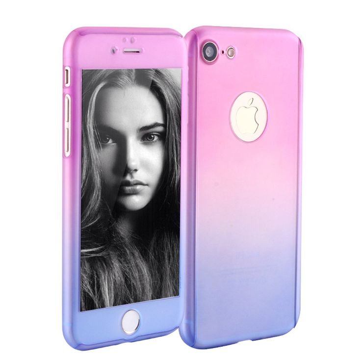 iPhone 7 Case, iLapland Ultra Thin 360 Degree Full Body Coverage Protection Gradient Ramp Vibrant Colorful PC Hard Slim Case with Tempered Glass Screen Protector for Apple iPhone 7 (Pink to Gray)