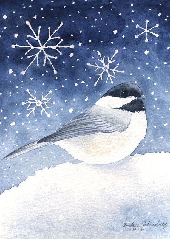 Chickadee Winter - Original Wild Bird Watercolor