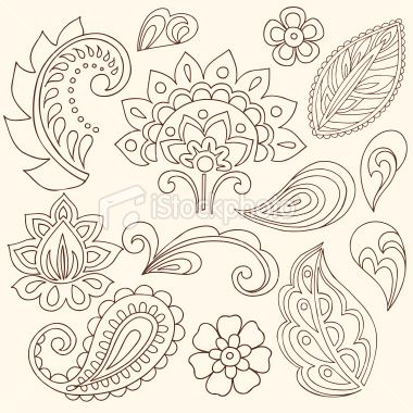 Henna Doodle Paisley Design Elements Royalty Free Stock Vector Art Illustration
