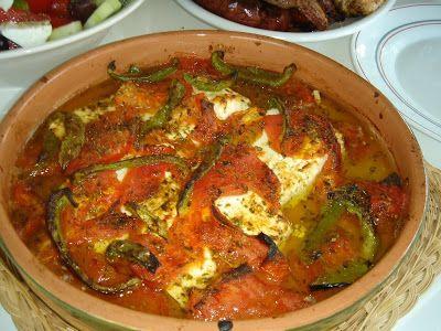 Φέτα με ντομάτα στο φούρνο