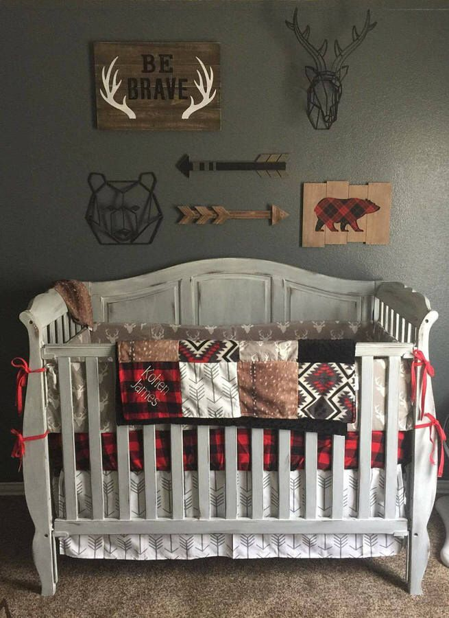 Woodland Boy Crib Bedding This Is Adorable With The Red Buffalo Plaid And Rustic Decor Accents Great For A Little Lumberjack Aff