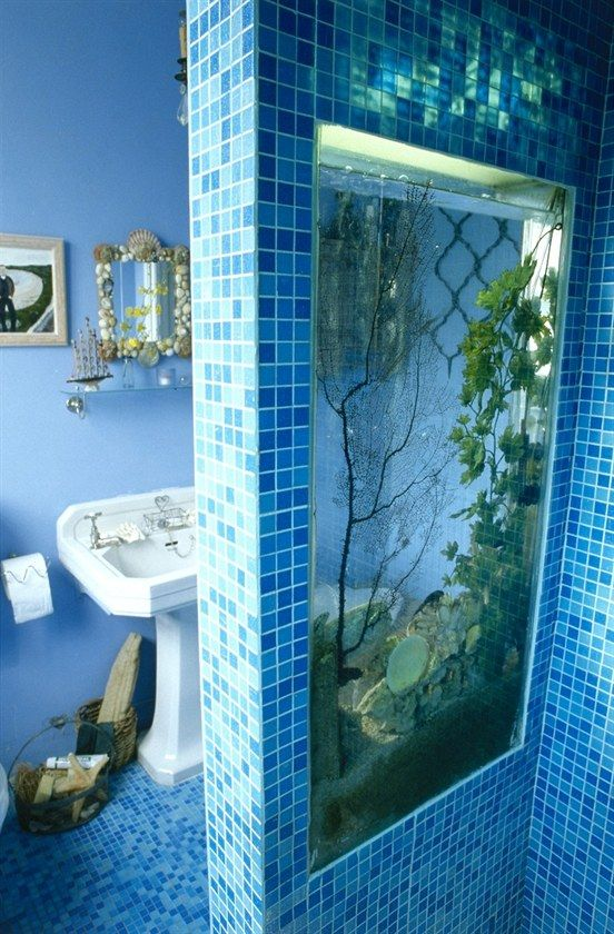 Aquarium as a separator of wet and dry areas in the bathroom