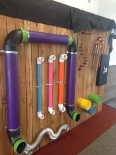 music sensory wall (drum cans, chimes, different size/texture/length tubes), just add sticks.