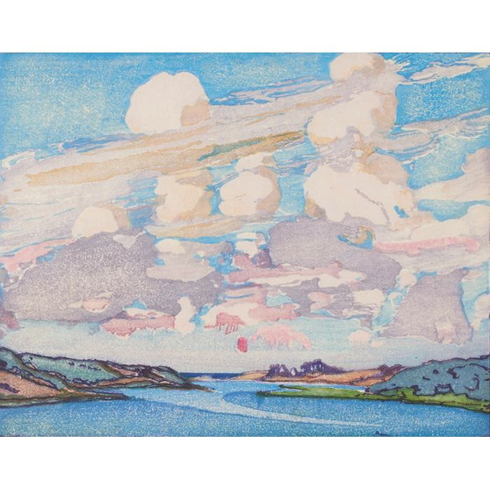 """Margaret Jordan Patterson, (American, 1867-1950), Summer Clouds, color woodblock print, pencil signed and titled, edition 26/100, framed, 9"""" x 11.25"""", Provenance: James Bakker Gallery, February 2011; The Collection of Robert and Elaine Dillof, Croton Falls, NY"""