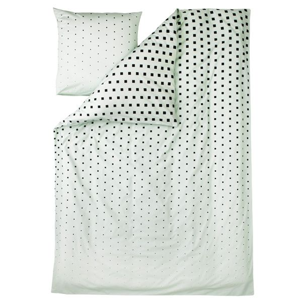 Cube duvet cover and pillow case, mint