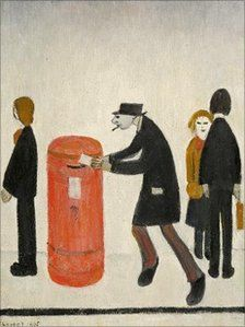 """Putting a letter in the post."" A detail of the work of LS Lowry."