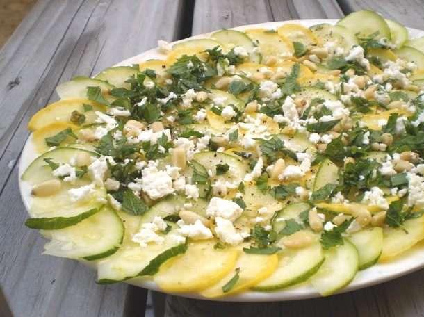 ... & Delicious: Zucchini Carpaccio with Feta and Pine Nuts | Rec