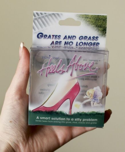 accessories for your high heels when walking on grass. Love it.