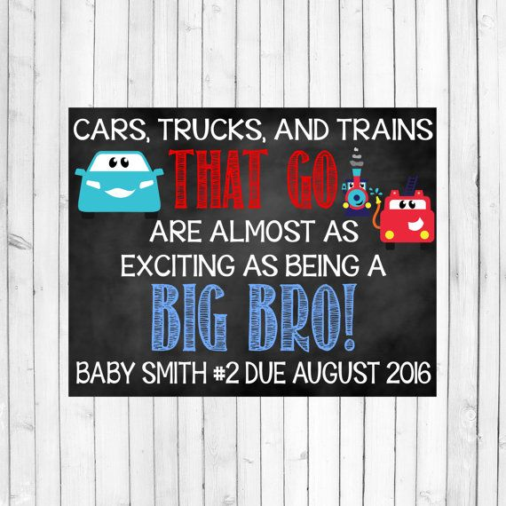 Big Brother Pregnancy Announcement. This listing is for a DIGITAL file in jpeg format. The standard size of the board is 14 x 11. If you would
