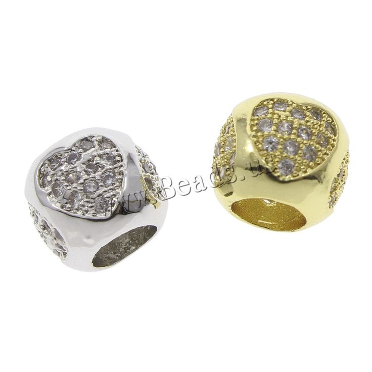 Cubic Zirconia Micro Pave Brass European Bead, Drum, plated, micro pave cubic zirconia & without troll, more colors for choice, nickel, lead & cadmium free