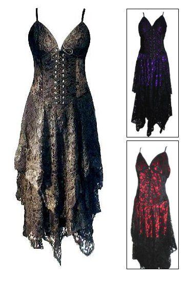 Orenda Black Lace  Velvet Witchy Corset Dress                                                                                                                                                     More