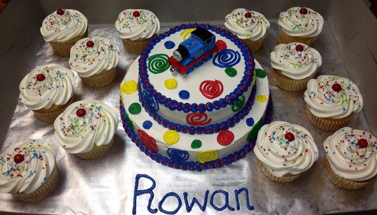 Thomas the Train smash cake and cupcakes