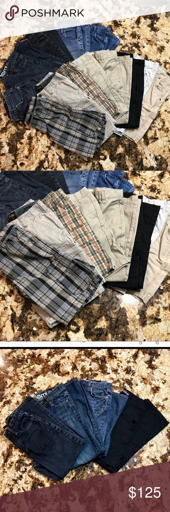 Make an offer!! NWOT/EUC 13 Piece Big Boy Bundle! 13 bottoms, size 10. Most new without tag or  EUC. Five pairs of jeans, one pair black cargo pants,two pairs of plaid shorts,two pairs tan cargo shorts(one pair of shorts has a few small stains.) ,one pair khaki shorts and one pair khaki pants. Brands are a range of Tony Hawk, Akademiks, Lee, Gymboree,etc. Open to reasonable offers. Reasonable is not half of asking price. Bundle for private discount and save on shipping! Bottoms