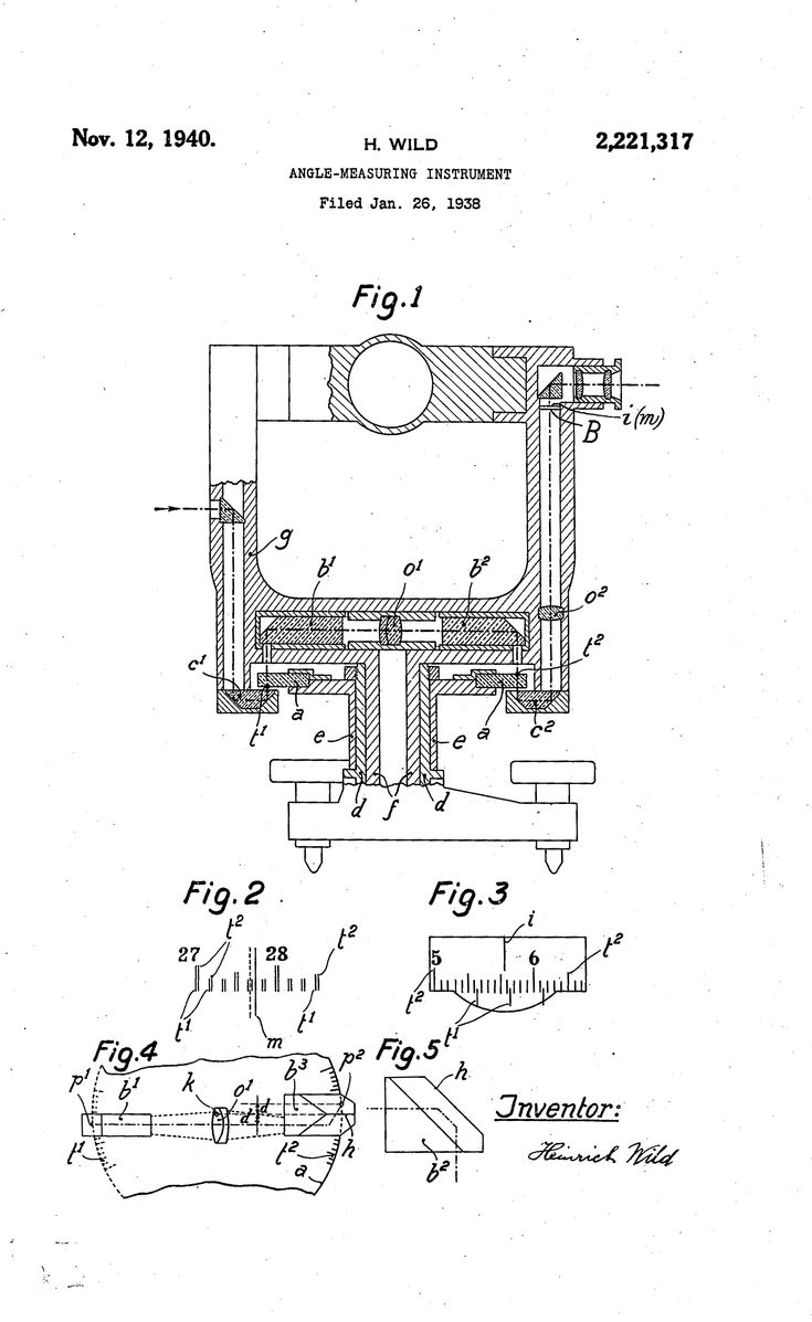 Patent: ANGLE -MEASURING INSTRUMENT, ANGLE-MEASURING, Heinrich Wild, Romerburg, Baden, Switzerland, Application January 26, 1938 In Switzerland January 30, 1937: Improvements in circle reading microscopes... for transits... one circle is provided with two different graduations... two diametrically opposite points are simultaneously projected into the field of view of one microscope... the single reading taken will give the observer the arithmetic mean of the two circle readings...