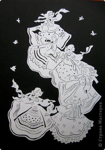 Картина панно рисунок Вырезание Хоровод Бумага фото 2