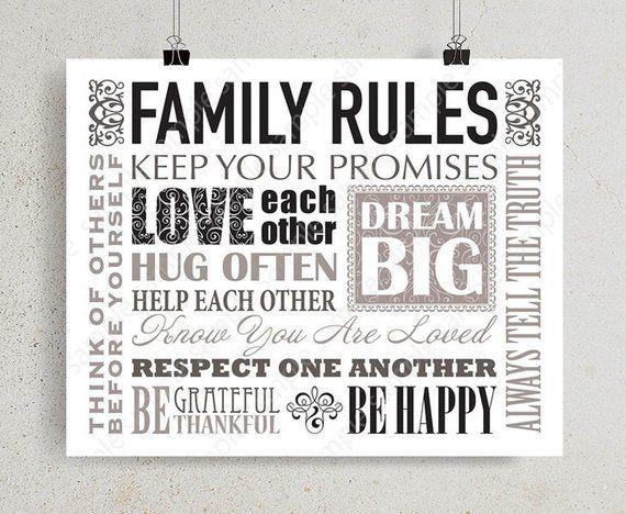 Family house rules, family values sign Horizontal wall art