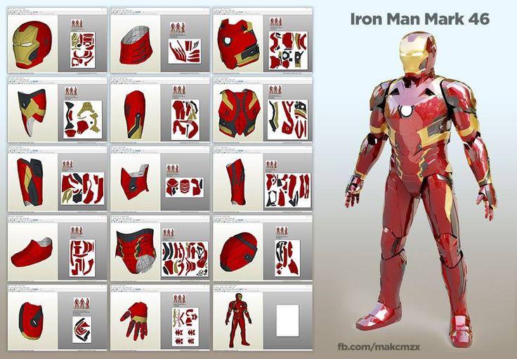 Meu Diário Robô, o melhor site de papercraft do Brasil: Iron Man Mark 46 Cosplay papercraft Saca só Armor Iron Man Mark 46! Pronta para EVA e a criação de seu cosplay.