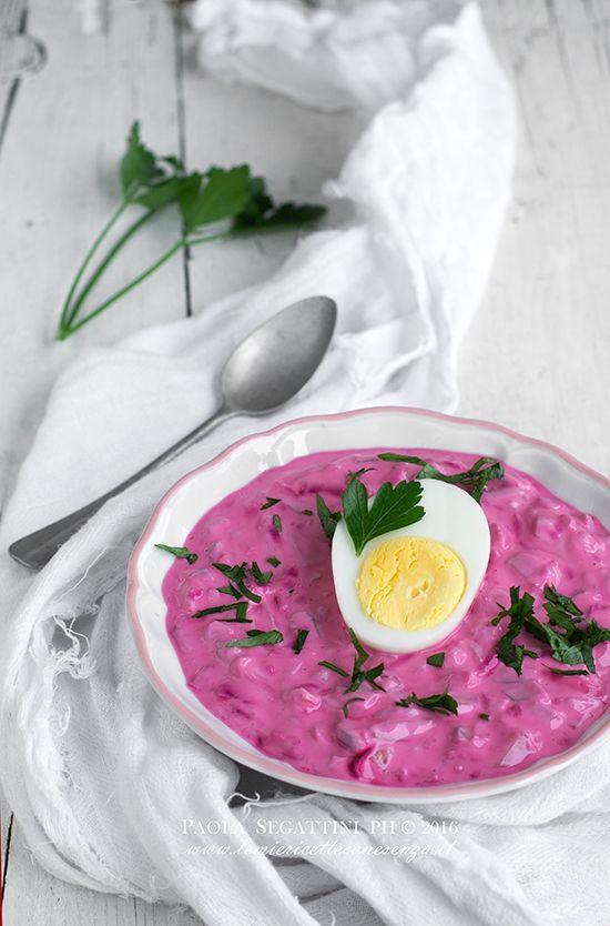 Zuppa fredda di barbabietole rosse, Šaltibarščiai, zuppa tipica della Lituania, ricetta con rape rosse, latte fermentato, yogurt, kefir, aneto, cetrioli