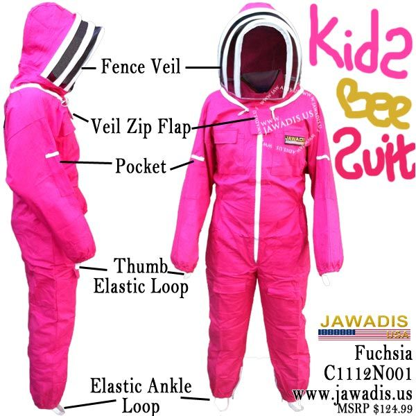 Kids Full Bee Suit with Fence Style Veil - Fuchsia https://www.jawadis.us/kids-pink-bee-suit … Only $68.95 and includes 2 FREE gifts! Get bargain deals on this and other bee suits and jackets!