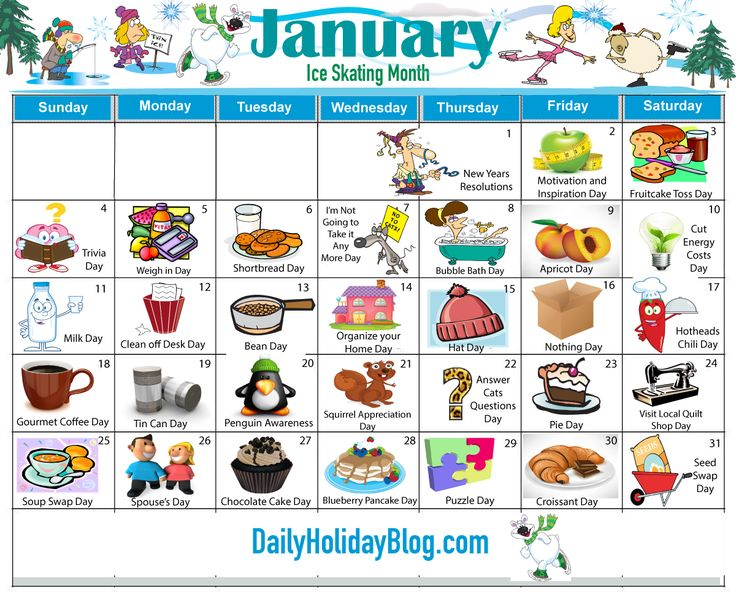 january holidays calendar