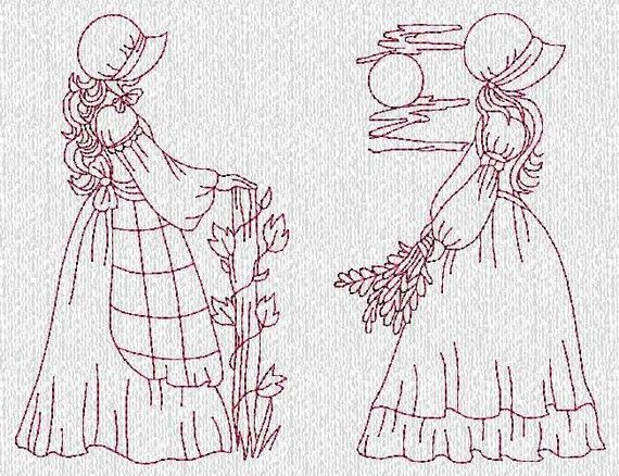 INSTANT DOWNLOAD Sunbonnet Ladies Evenings Redwork Machine Embroidery Designs