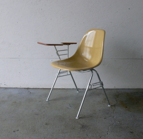 Herman Miller Eames Fiberglass Chair With Stacking Base And Desktop #vintage  #eames #chair