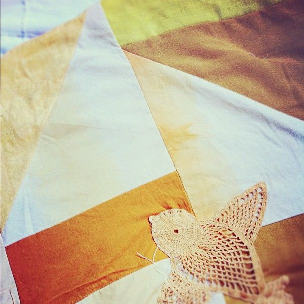 Almost finished with the quilt I'm making for my little Boomba--Upcycled from the vintage linens I dyed for our wedding...Vintage Linen, Baby Quilt