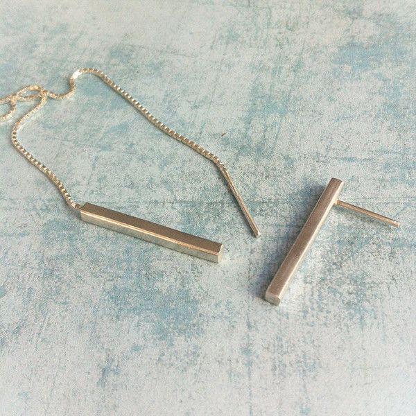 Silver Earrings – Asymmetric Silver Earrings - bar stud earrings  – a unique product by Carla-Amaro on DaWanda