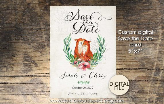 Foxes! Wedding Save The Date Card Printable Save the date by StudioInBudapest