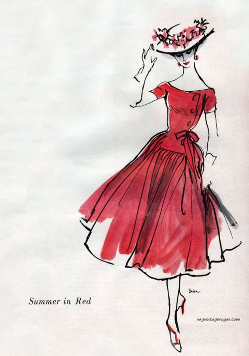my vintage vogue: Red Summer by Mollie Parnis 1956 - sketch by Erica