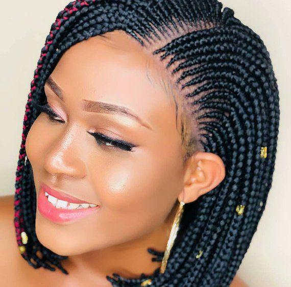 Bob Box Braid Wig In Colour 1 Ready To Ship Etsy Box Braid Wig Braids For Black Women Box Braids Styling