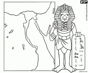 Colorear El faraón y un mapa del imperio