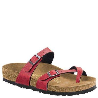 Birkenstock Mayari Birko-Flor Bordeaux Sandals - HappyFeet.com