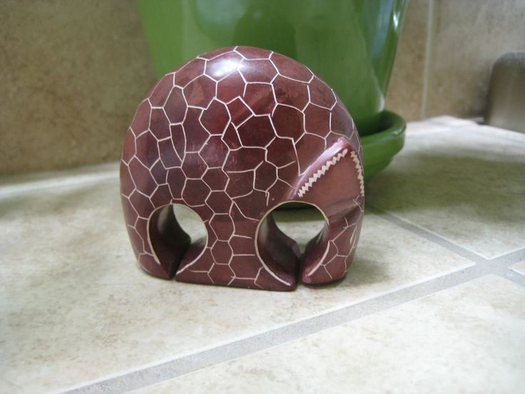 Modern Hand Carved Soapstone Armadillo Animal Reddish Brown 3 Inches Long