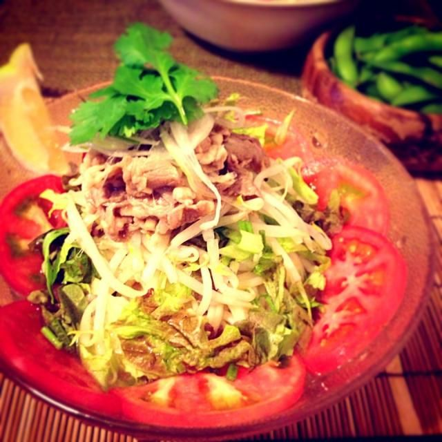 タイの牛肉サラダと冷たいフォー、両方好き!!  で、どっちも合わせたような冷たい麺料理にしてみました꒰*´艸`*꒱  旦那さんもパクチー大好きなので、どっさりパクチー入りで 笑 - 66件のもぐもぐ - エスニック冷やしうどん by aiko0111