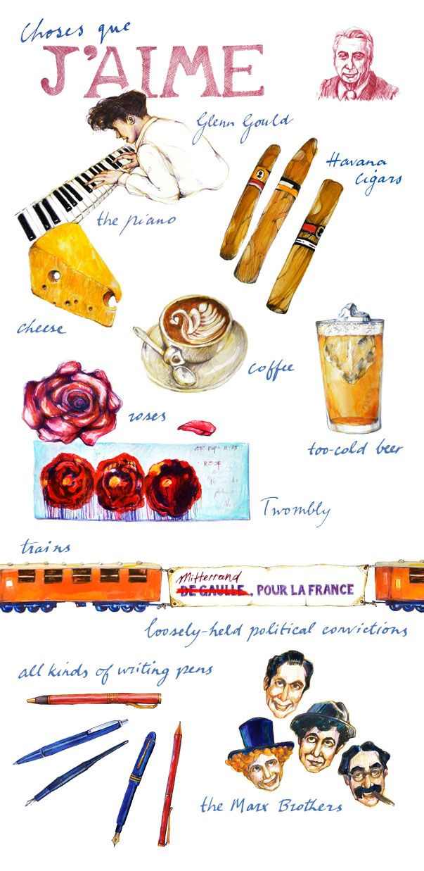 Australian illustrator and graphic designer Lynore Avery was moved to draw some of critic and philosopher Roland Barthes's favorite things, based on a list he had written of likes and dislikes, , originally titled J'aime, je n'aime pas (I like, I don't like).