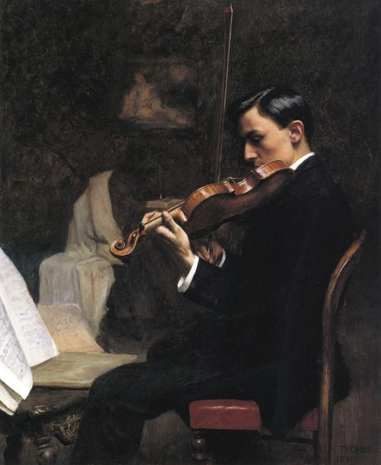 The Violin Student, Paris - 1891. Stephen Seymour Thomas (American 1868-1956) Cozyhuarique
