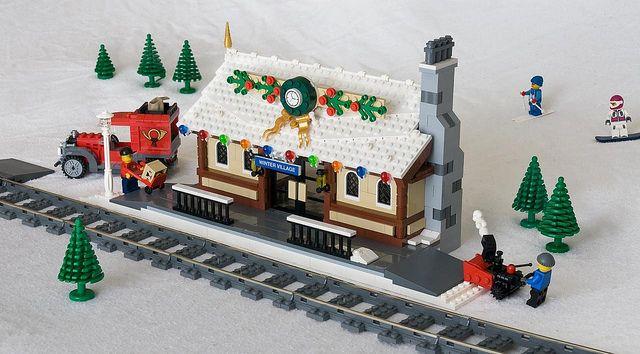 lego winter village   Winter Village Train Depot   Flickr - Photo Sharing!
