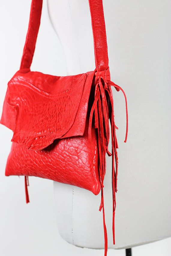Red Leather Bag Raw Edge Flap/Red Shoulder Bag by NeroliHandbags