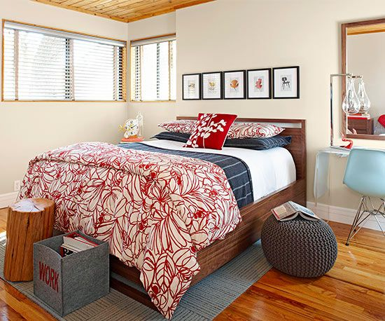 Use a bold color scheme like red and blue to make a modern space feel welcoming. More of our favorite real-life bedrooms: http://www.bhg.com/rooms/bedroom/master-bedroom/25-of-our-favorite-real-life-bedrooms-/?socsrc=bhgpin052313redbluebedroom=5